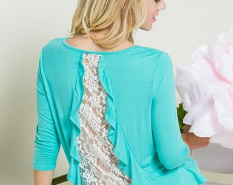 Lace and Ruffled Back Quarter Sleeves Top