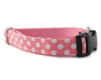 Pink Dog Collar - Bubble Gum Dog Collar - Pink and White Polka Dot Dog Collar - Girl Dog Collar - pink polka dot collar