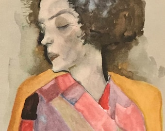 "Egon Schiele ""Girl Dreaming"" from Egon Schiele-As a Draughtman by Otto Denesch, 1950, 9.25 x 13.5 inches"