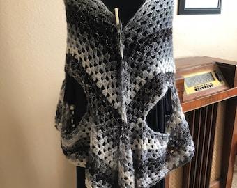 Light and airy handmade crochet shawl/vest