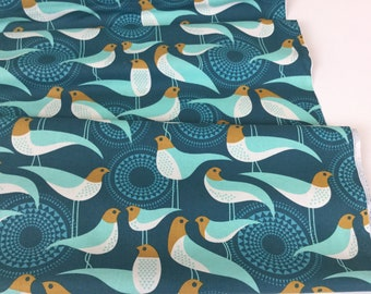 By 1/2 Yard ~ Modernist Perch Peacock Color, Designed by Joel Dewberry for Free Spirit Fabrics, Cotton Quilt Fabric