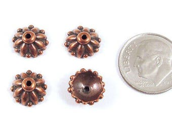 TierraCast Pewter Bead Caps-Antique Copper Dharma 10mm (4)