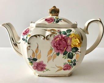 Large Pink Rose Cube Sadler Teapot