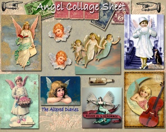 Angels Collage Sheet, Angels Collage Sheets, Artist Trading Cards Backgrounds, Angel Clip Art