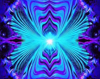 "Purple Teal Abstract Art Print, Reiki Energy Wall Decor Chakra Art ""Intuitive Truth"""