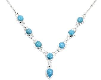 Larimar Necklace Blue Necklace Larimar Jewelry Gemstone Necklace Sterling Silver Y Necklace AD870