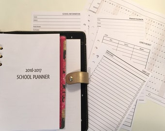 Back To School Planner Kit / Half Letter Size Inserts for A5 Planners