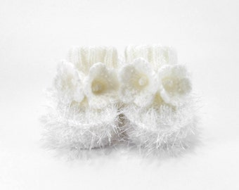 Hand Knitted Baby Booties with Crochet Bell Flowers - Snow White, 0 - 3 months