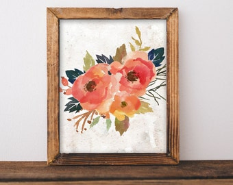Fall Printable Art Fall Art Floral Art Fall Print Happy Thanksgiving Happy Fall Give Thanks Art Fall bouquet Fall floral fall poster autumn