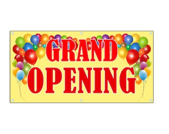 Grand Opening Banner Vinyl Single Sided with Grommets, Grand Opening Sign - Business Grand Opening Banner