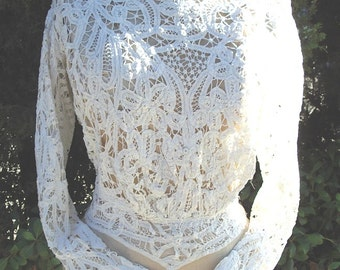 Original Victorian Battenberg Lace Blouse Mint Condition  Size Small  Item #100  Victorians