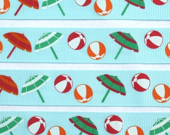 "BEACH Umbrellas and Beach Balls on blue 3/4"" grosgrain ribbon by 1 yard or 36 inches"