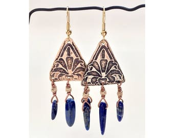 Etched Brass Earrings, Art Deco Earrings with Lapis Lazuli - Free Domestic Shipping