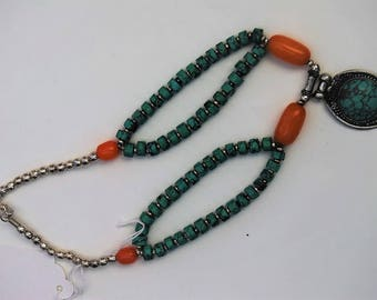 Tibetan tribal bohemian amber and turquoise necklace.