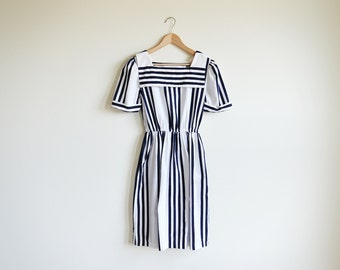 Vintage navy and white stripe dress with sailor collar.