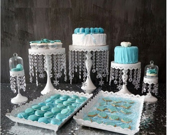 White Cake Cupcake stand set with crystals - 7 pcs
