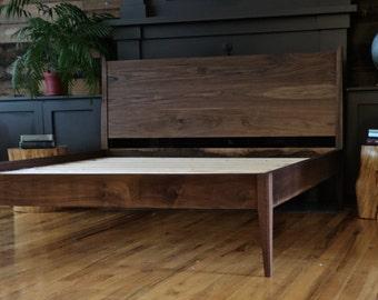 Mid Century Modern Platform Bed // Storage Bed // Danish Modern // All Solid Walnut bed// Bed No. 4