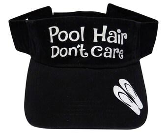"""NEW! White Glitter """"Pool Hair Don't Care"""" Black Cotton Visor"""