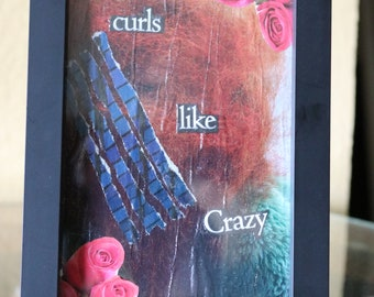 """Framed collage art """"Curls Like Crazy"""""""