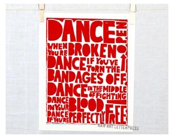 Rumi, Dance Quote, Ballet Quote, Poetry Print, Sympathy Gift, Wall art, Typographic Print, Dancer Quote, College Dorm Decor