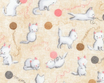 Robert Kaufman - Flannel - Cuddly Kittens Tan on Flannel