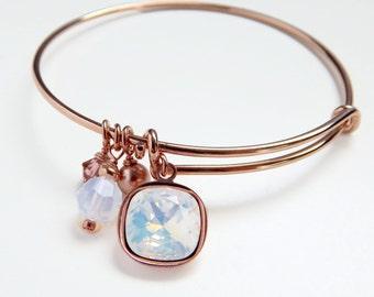 Rose gold bangle crystal charm bracelet - expandable bangle bracelet - white opal - blush pearl - adjustable bangle - Swarovski crystal