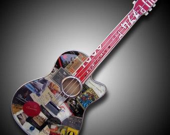 Wine Label Guitar - Handmade Guitar Art using old wine labels, corks, license plates, etc.