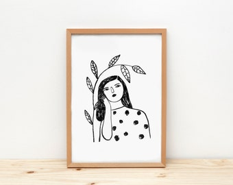 Woman and branch B&W - print - 8 x 11.5 - A4 - by Depeapa