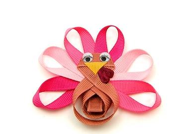 Pink Turkey Hair Bow, Girly Turkey Clip for Baby, Glam Turkey Hair Clip Toddler Hair Clip for Girls Children Holiday, Ready to Ship Turkey