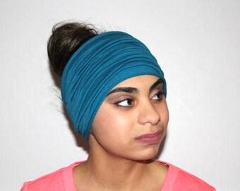 Teal Headband, Scrunch Headband, Yoga Headband, Running Headband, Workout Headband, Fitness Headband, Extra Wide Headband, Head wrap