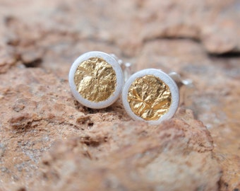 stud earrings gold circle small studs sterling silver round cup earrings with 24k gold leaf post earrings gift for her