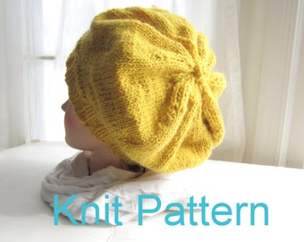 Easy Knit Hat Pattern, Simple Slouch Hat Knitting Patterns Tutorial pdf, Instant Download