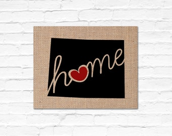 """Wyoming (WY) """"Love"""" or """"Home"""" Burlap or Canvas Paper State Silhouette Wall Art Print / Home Decor (Free Shipping)"""