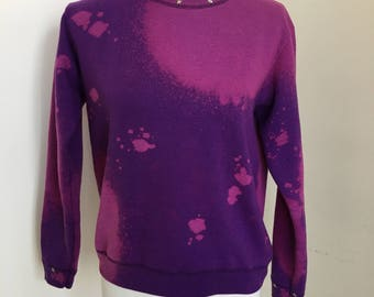 Star Studded Purple Bleach Dye Sweater