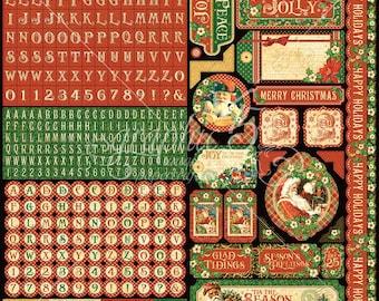 Graphic 45, St. Nicholas,  Stickers, 12 x 12,Retired