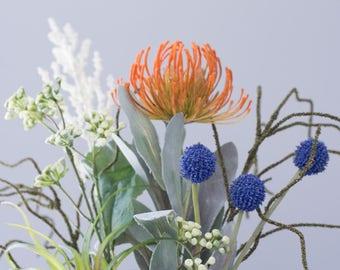 Artificial Succulent Planter-Tropical Flower- Beach Flower-Artifical Flower Arrangement-Tin bucket-Tropical Wedding Centerpiece