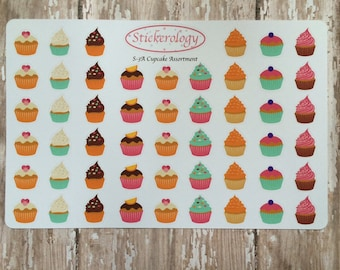 Cupcake Stickers,  Food Stickers, Party Stickers, Birthday Stickers, Cake Stickers, A-3.