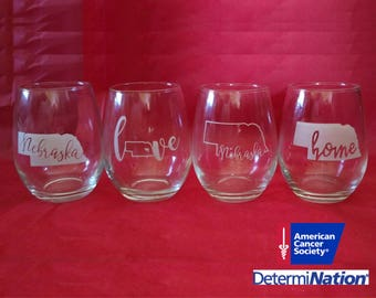 Stemless Nebraska Wine Glasses, Set of 4 Designs (Nebraska Love, Nebraska Home, Nebraska Gift, Nebraska Wedding, Husker Fans, Husker Gifts)