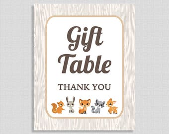 Gift Table Shower Sign, Woodland Animals Baby Shower Sign, Gender Neutral,  INSTANT PRINTABLE