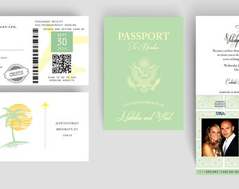 Passport Destination Wedding Invitation & Boarding Pass Set - Palm Trees + Mexican Tile Design
