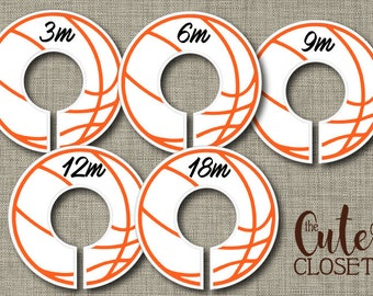 Baby Closet Dividers - Bounce!- Clothes Organizers Nursery Decor Baby Shower Gift - Basketball Orange Lines