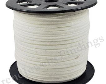 13 ft White Suede Cord - Microfiber Faux Suede Cord -  3mm x 1.5mm- Jewelry making String Material  -W012