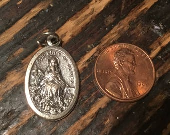 Our Lady of Olives Silver Tone Vintage Religious Medal She Will Keep You Safe From Lightning During a Storm