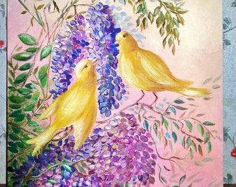 Acrylic painting Canaries on a blossoming lilac
