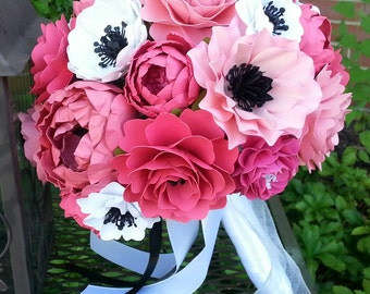 Paper Bouquet - Paper Flower Bouquet - Wedding Bouquet - Shades of Pink and Black - Custom Made - Any Color