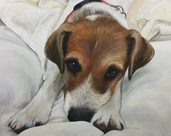 14x18 custom portrait painting on canvas wall art jack russell terrier gift