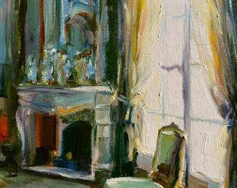 CHAISE VERTE Art Print of an original oil painting by Cecilia Rosslee,Window Scene. Art.Green chair.French interior.Fireplace.Wall Art