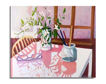 """Floral Still Life, """"Flowers in the Studio"""", Original Painting directly from an Artist"""