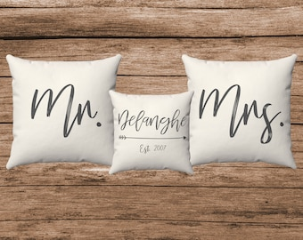 Personalized Mr. and Mrs. Pillows | Wedding Date Pillow | Custom Wedding Gift | Mr. & Mrs. Custom Pillows with Name and Wedding Date