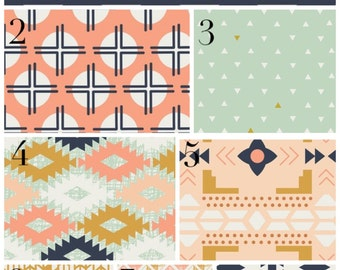 Modern Tribal Crib Bedding, Mint and Coral, Diamonds and Triangles, Custom Personalized